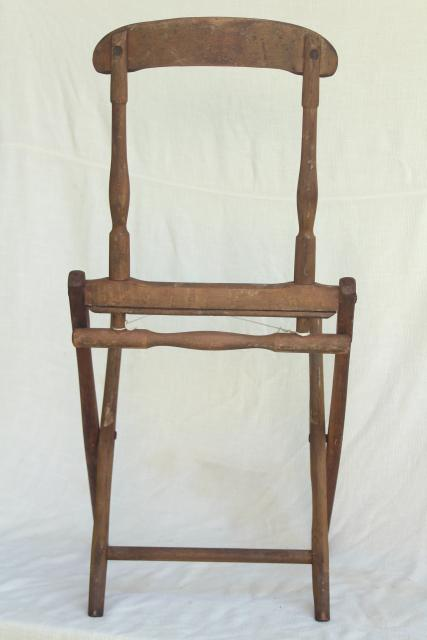 Old Antique Folding Wood Chair Frame Needs New Fabric
