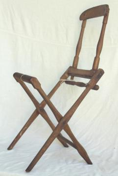 old antique folding wood chair frame needs new fabric, Edwardian vintage lawn beach camping seat
