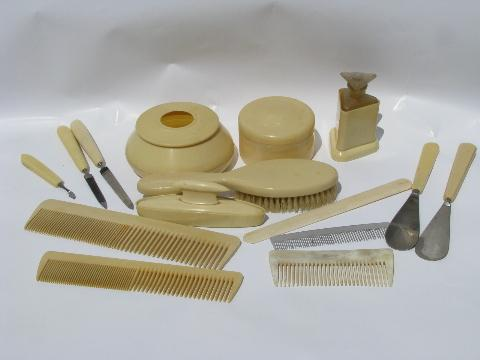 Old Antique French Ivory Celluloid Vanity Set Combs Brush