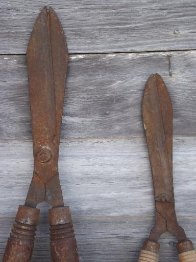 old antique garden shears, vintage  hand hedge clippers loppers