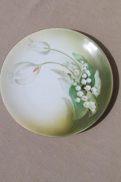 old antique green & white china plates, hand-painted flowers & lilies of the valley