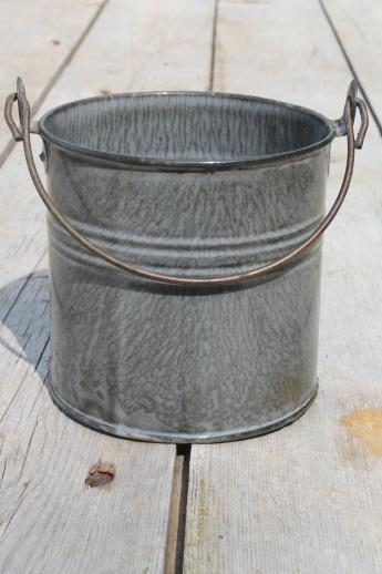 old antique grey graniteware, primitive little lunch pail or berry bucket