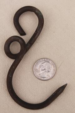 old antique hand forged copper hook for hanger rack or scale, vintage hardware