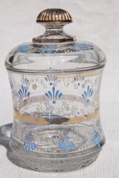 old antique hand painted enamel glass jar canister from Victorian vintage table set