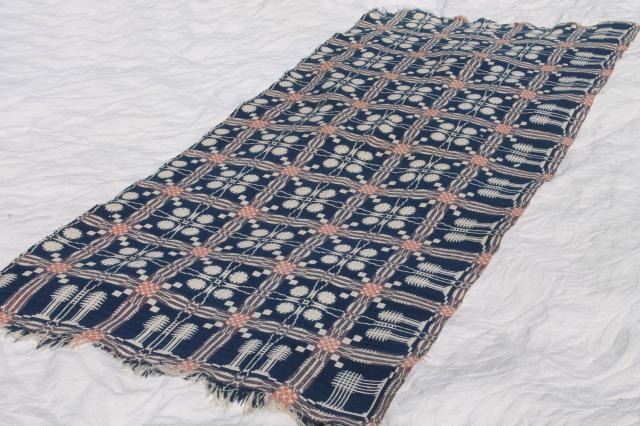 Charming Old Antique Hand Woven Coverlet Fragment, Primitive Indigo Blue Wool U0026  Linen Fabric