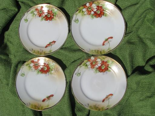 old antique hand-painted Nippon china plates, gold moriage w/ poppies