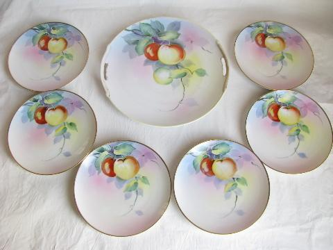 old antique hand-painted nippon china vintage cake or dessert set for six apple plates & old antique hand-painted nippon china vintage cake or dessert set ...