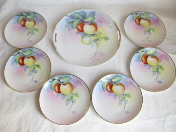 old antique hand-painted nippon china, vintage cake or dessert set for six, apple plates