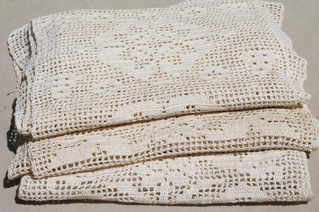Old Antique Heavy Cotton Crochet Lace Wide Insertion Or