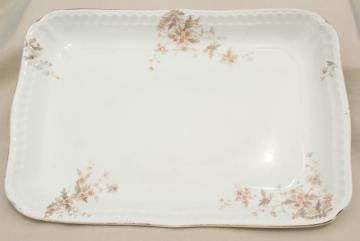 old antique ironstone china platter, big heavy rectangular china serving tray