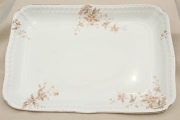 old antique ironstone china platter, big heavy rectangular china serving tray