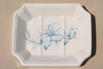 old antique ironstone soap dish, blue transferware Goodwin's Iron Stone China