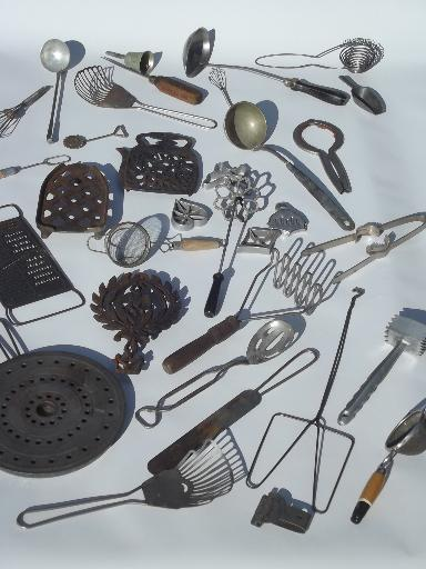 Old Antique Kitchen Tools Utensils Lot Vintage Kitchenware Collection