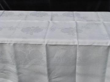 old antique linen damask tablecloth, vintage early 1900s, never used