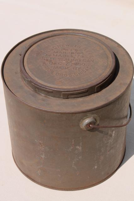 old antique metal bucket, bail handle pail tin can w/ lid, 1880s embossed date