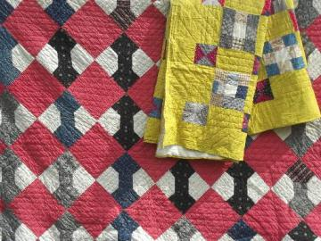 old antique patchwork quilts in barn red & yellow, bow-tie & nine patch quilt