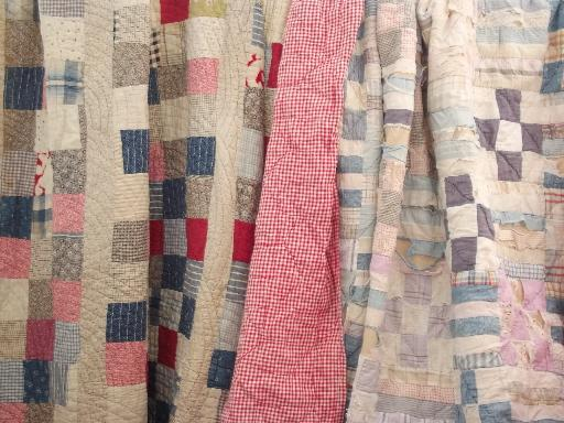 old antique patchwork quilts, shabby cutter quilt lot for crafts / fabric