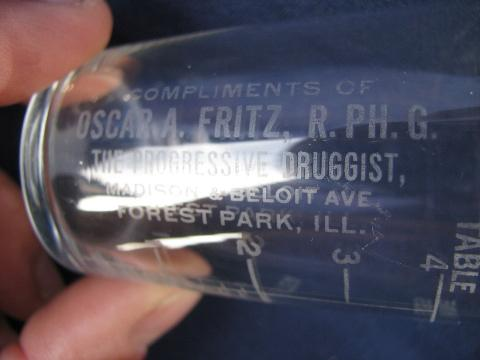old antique pharmacy medicine measure glass, Forest Park Ill druggist