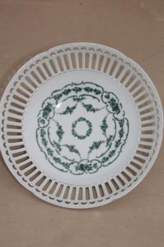 old antique pierced lace edge china bowl, large centerpiece w/ reticulated openwork hearts