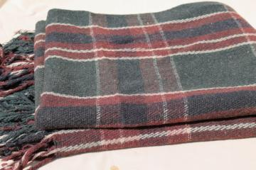old antique plaid blanket lap robe for buggy or horse drawn sleigh