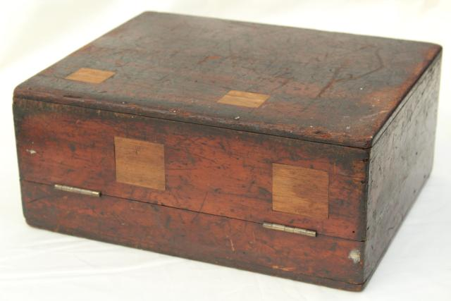 old antique polished wood tool case or camera / scientific instrument box