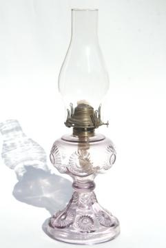 old antique pressed glass kerosene oil lamp, sunflower flower pattern EAPG