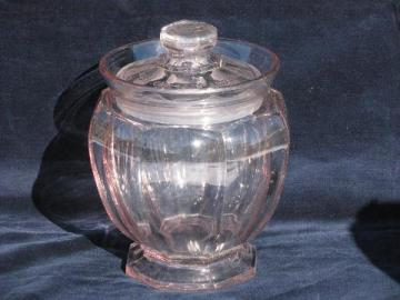 old antique pressed glass store counter jar, old octagon canister, sun purple