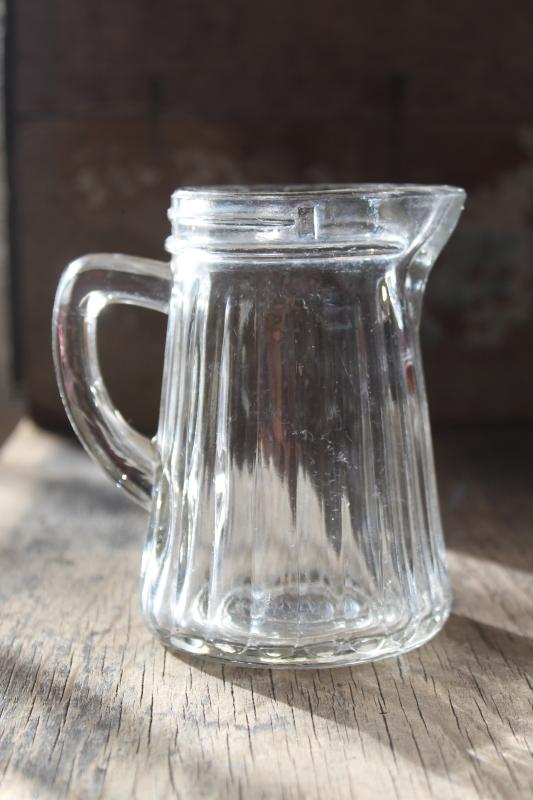 old antique pressed glass syrup pitcher, heavy rib paneled pattern glass