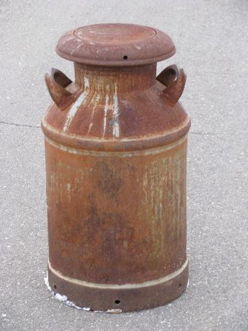 Old Antique Primitive Milk Can For Yard Nice Patina
