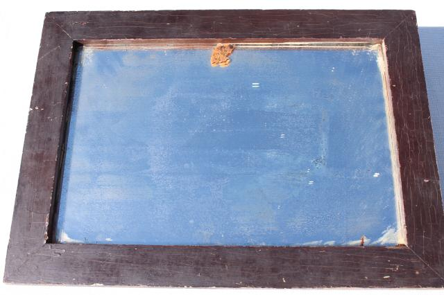 old antique primitive plank back wood frame washstand shaving mirror