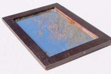 old antique primitive plank back wood frame washstand shaving mirror