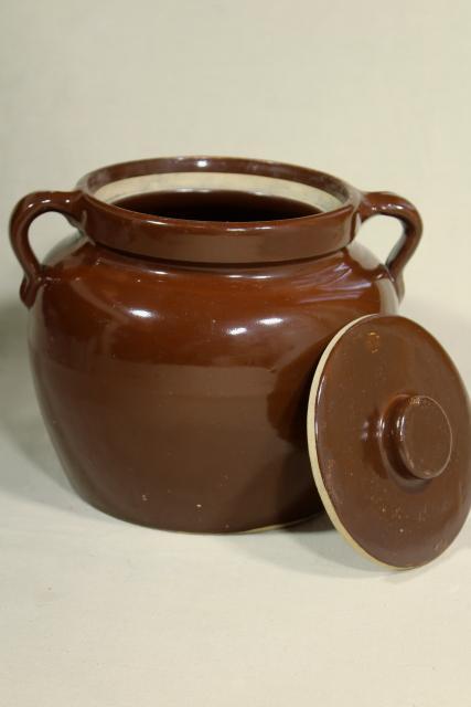 Old Antique Primitive Stoneware Bean Baker Brown Crock Pottery Jar Pot For Baked Beans