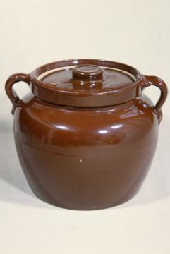 old antique primitive stoneware bean baker, brown crock pottery jar pot for baked beans