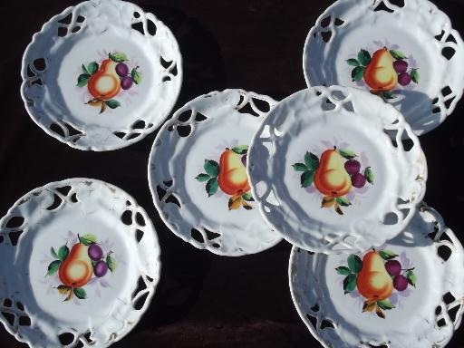 & old antique ribbon china plates set openwork border hand painted fruit