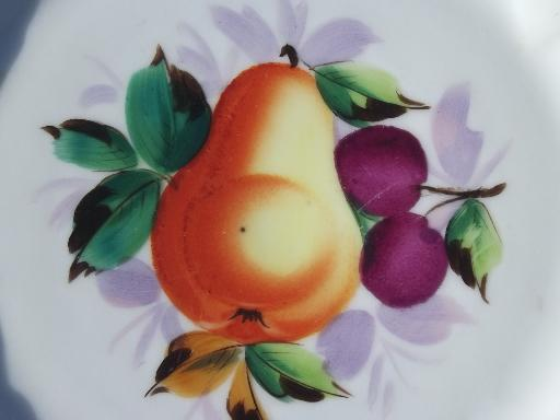 old antique ribbon china plates set, openwork border, hand painted fruit