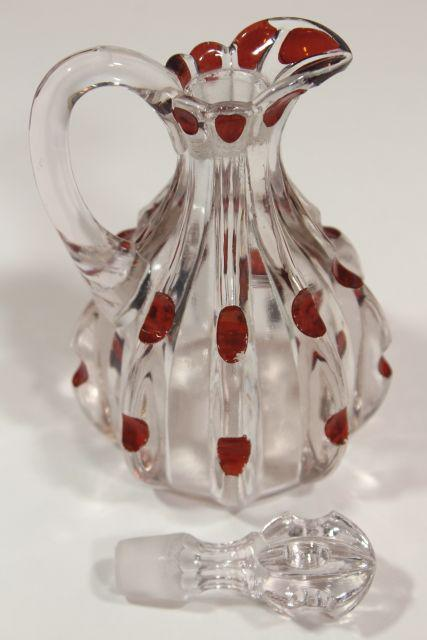 old antique ruby stain glass cruet, EAPG broken column pattern pressed glass