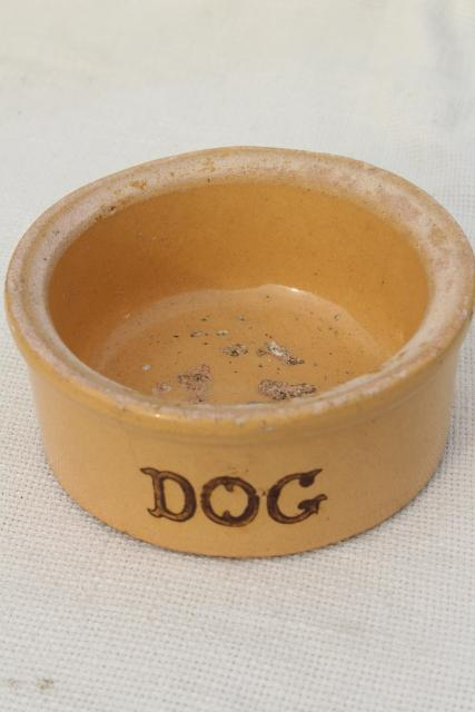 old antique stoneware dog dish, Robinson Ransbottom Roseville pottery crock bowl