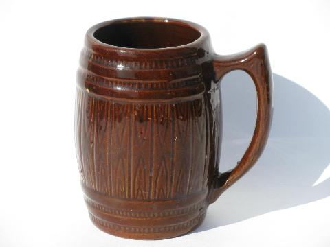 old antique stoneware pottery barrel pitcher & beer steins or cider mugs