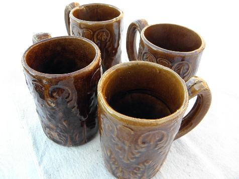 old antique stoneware pottery beer mugs or steins, early 1900s vintage