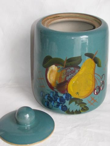 old antique stoneware pottery cookie jar crock, hand-painted vintage yellow ware