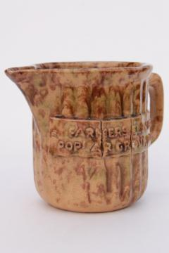 old antique stoneware pottery pitcher advertising Farmers Elevator Poplar Grove Illinois