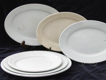 old antique vintage English ironstone china, lot of serving platters