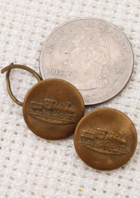 Old Antique Vintage Brass Metal Buttons From Work Clothes