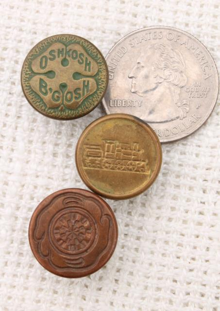 old antique vintage brass metal buttons from work clothes & railroad overalls