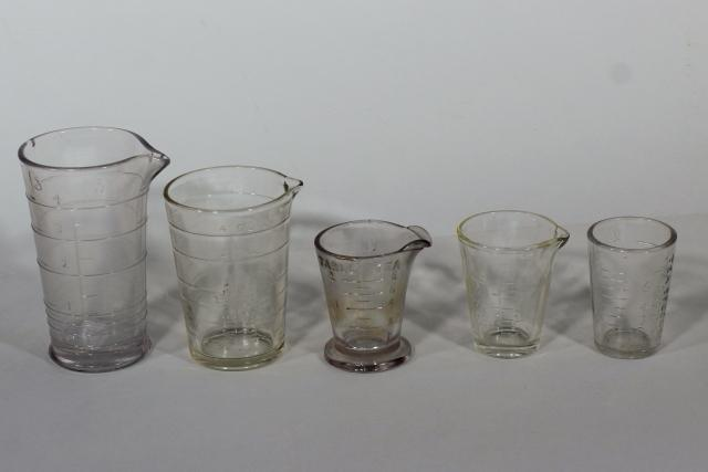 old antique vintage marked measures glass medicine dose glasses collection