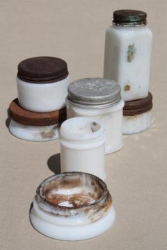 old antique vintage milk glass jars & ointment pots, as found dug bottles lot