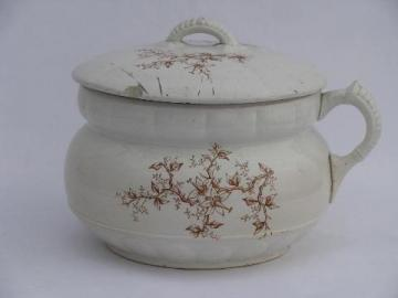 old antique white ironstone china chamber pot, early 1900s vintage transferware