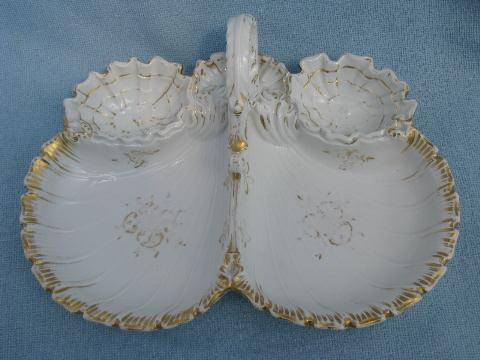 old antique white porcelain shell oyster dish, divided plate w/ handle