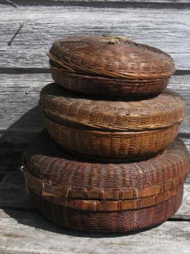 Vintage Wicker And Wood Splint Baskets