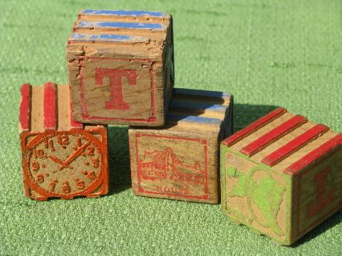 Vintage Wooden Alphabet Blocks